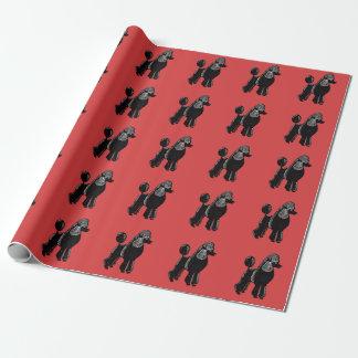 Rött slående in papper för svart standarda pudlar presentpapper