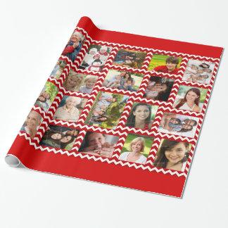 Rött sparremönster för foto som slår in papper presentpapper