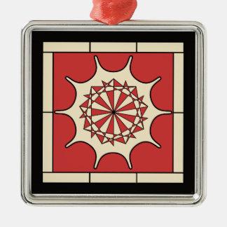 Rött stänk för art déco julgransprydnad metall