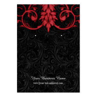 Rött svart beställnings- örhängekort för vintage set av breda visitkort