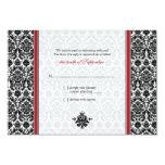 Rött svart, för bröllopsvar för vit damastast kort personliga inbjudan