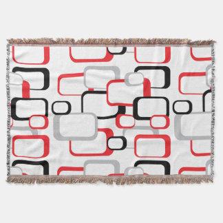 Rött, svart och grått Retro kvadrerar Filt