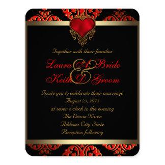 Rött svart- och guldbröllop 10,8 x 14 cm inbjudningskort