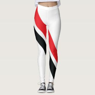 Rött/svarten görar randig på vitdamasker 1 leggings