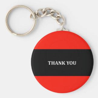 Rött svartvitt tacka dig rund nyckelring