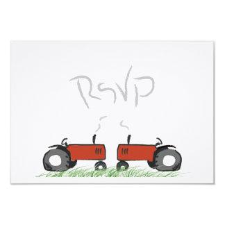 Rött traktorbröllop OSAkort 8,9 X 12,7 Cm Inbjudningskort