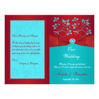 Rött turkosblommigtbröllopsprogram reklamblad