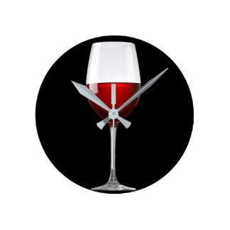 Rött vinexponeringsglassvarten dricker vinodlingen rund klocka