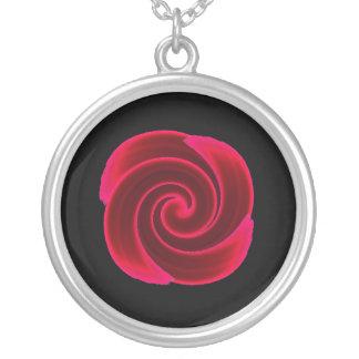 Rött virvla runt blodblomman silverpläterat halsband