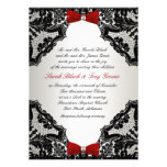Rött, vit och svart snörebröllopinbjudan personliga tillkännagivande