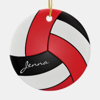 Rött, vit & svarten personifiera volleyboll julgransprydnad keramik
