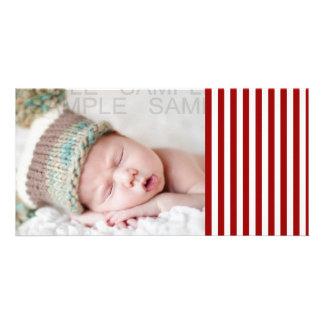 Rött vitrandmönster anpassade foto kort