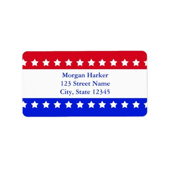 Rött vitt blått beställnings- text för amerikanska adressetikett