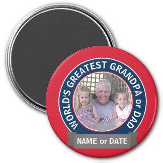 Rött vitt blått foto för världsmästarepappamorfar magnet