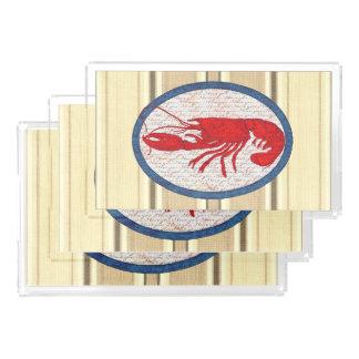 Rött vitt blått nautiskt för lantlig hummervintage bricka