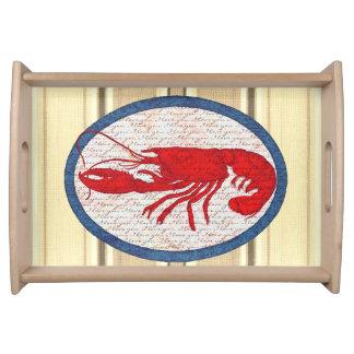 Rött vitt blått nautiskt för lantlig hummervintage frukostbricka