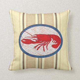Rött vitt blått nautiskt för lantlig hummervintage kudde