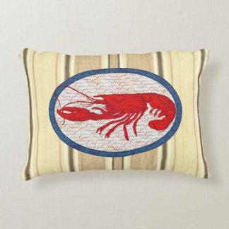 Rött vitt blått nautiskt för lantlig hummervintage prydnadskudde