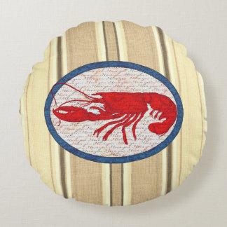 Rött vitt blått nautiskt för lantlig hummervintage rund kudde