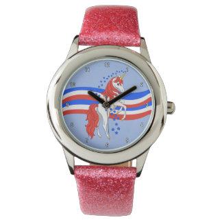 Rött vitt blått patriotisk amerikanUnicorn Armbandsur
