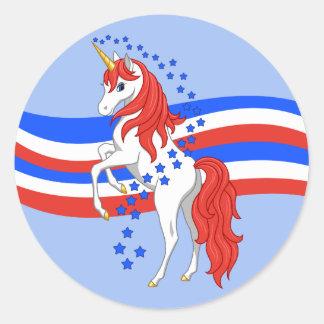 Rött vitt blått patriotisk amerikanUnicorn Runt Klistermärke