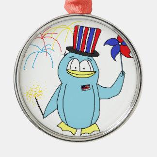 Rött vitt blått patriotisk pingvin - julgransprydnad metall