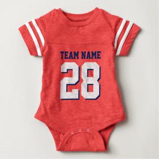 Rött vitt blått Romper för baby för fotbollJersey Tee Shirt