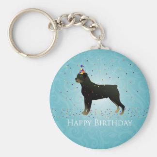 Rottweiler födelsedagdesign rund nyckelring