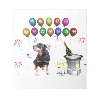 Rottweiler hundgott nytt år anteckningsblock