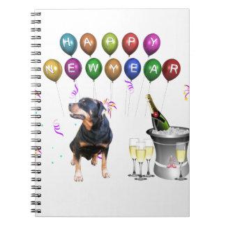 Rottweiler hundgott nytt år anteckningsbok med spiral