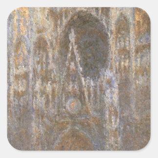 Rouen domkyrka 02 vid Claude Monet Fyrkantigt Klistermärke