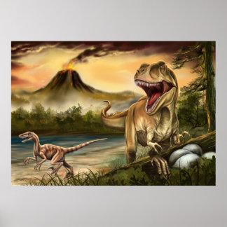 Rovdjurs- Dinosaursaffisch Poster