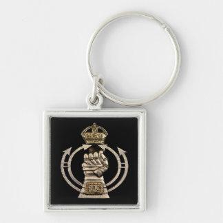 Royal armerad kår Keychain Fyrkantig Silverfärgad Nyckelring