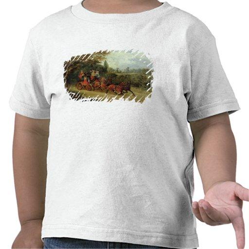 Royalet postar lagledaren med passagerare (olja på t-shirt