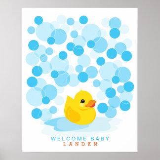 Rubber Ducky tryck för bok för | baby showergäst Poster