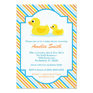 Rubber Ducky unisex- baby showerinbjudan -, pojke 12,7 X 17,8 Cm Inbjudningskort