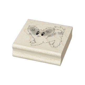 Rubber frimärke för gullig Scruffy Papillon Stämpel