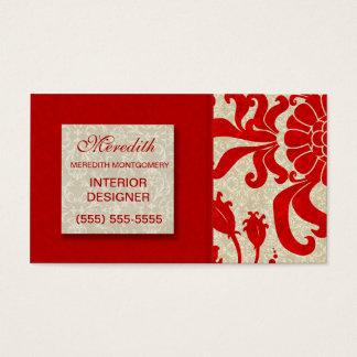 Ruby som är röd med det damastast trycket för visitkort