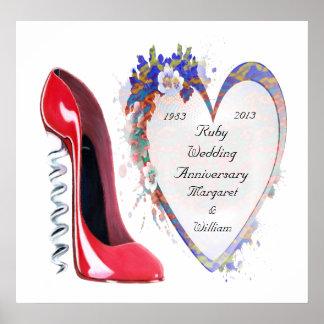 Rubybröllopsdagaffisch, med Customisable Poster