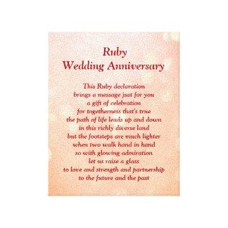 Rubybröllopsdagkanfas Canvastryck