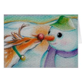 Rudolf möter snögubben hälsningskort