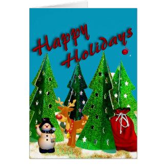 Rudolf och frostig glad helg hälsningskort