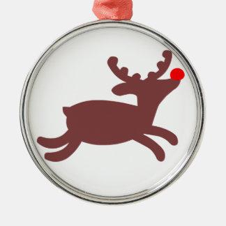 Rudolf ren rund silverfärgad julgransprydnad