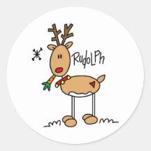 Rudolph den röda Nosed renklistermärken Runda Klistermärken