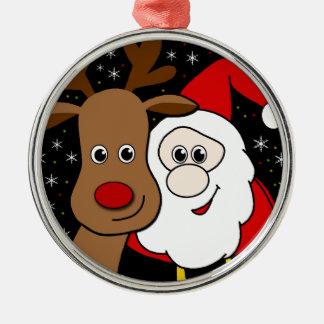 Rudolph och Santa selfie Rund Silverfärgad Julgransprydnad