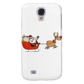 Rudolph som flyger Kris Kringle i hans Sleigh Galaxy S4 Fodral