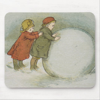 Rullande barn kastar snöboll musmatta