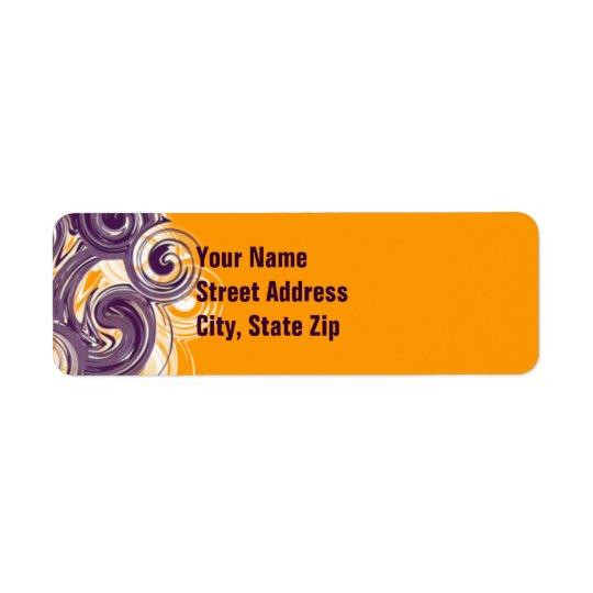 Rullande purpurfärgad sidogräns returadress etikett