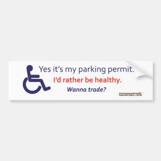 Rullstol som parkerar med osynlig sjukdom bildekal