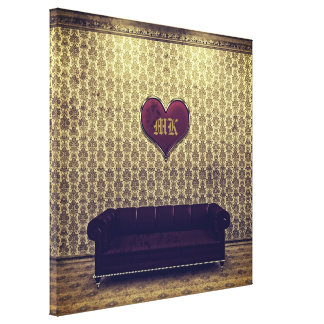 Red Heart Purple Sofa Gold Vintage Victorian Room